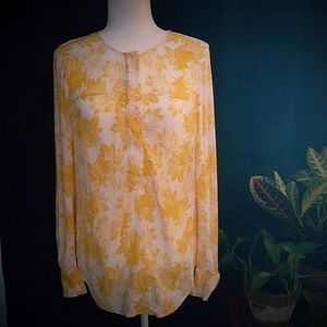 J. Crew Yellow Floral Tunic